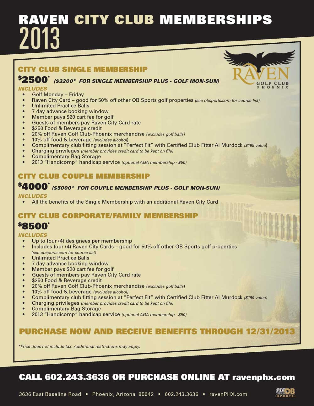 Play unlimited golf with the Raven City Club Annual Membership
