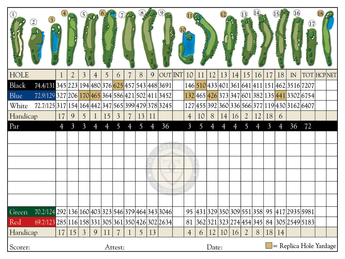 The Castle Course Scorecard Northern Bay Resort