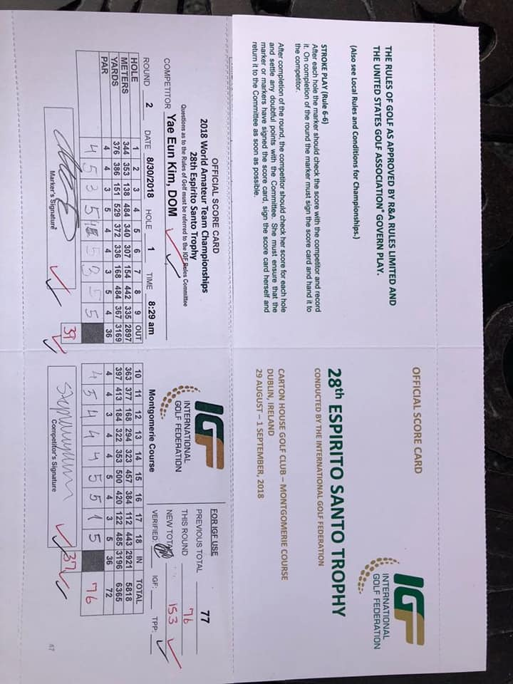 Hole in One for Stephany Yae Eun Kim (Dominican Republic) during 2nd round