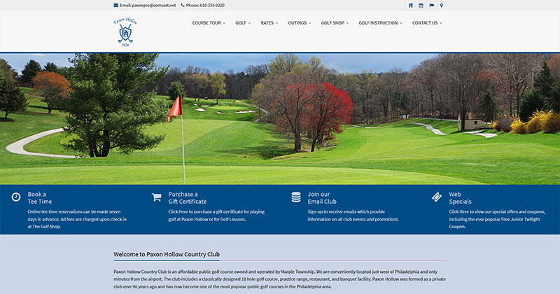 Paxon Hollow Country Club Responsive Web Design Sample Image