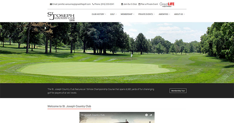 St. Joseph Country Club Responsive Web Design Sample Image