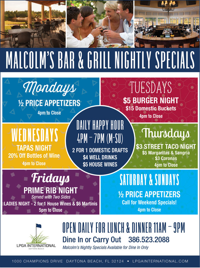 Malcolm's Specials Flyer - call for details