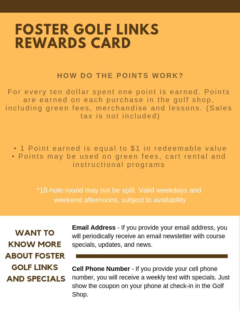Foster Golf Links - Rewards Card