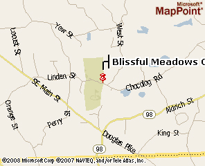 A map of Blissful Meadows G.C.. Click to see the map on MSN Maps & Directions