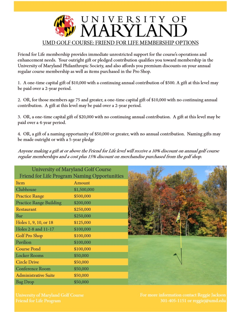 UMD Golf Course Friend for Life Membership Options