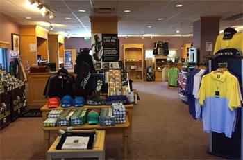 Photo Golf Shop at Bardmoor Golf & Tennis Club interior showing Golf shirts, hats and balls