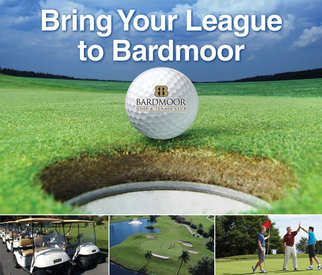 Photo collage with text that reads Bring Your League to Bardmoor and features close up of Bardmoor Logo golf ball, a line of golf carts, a golf course fairway with flag stick in distance and three male golfer's celebrating on the green