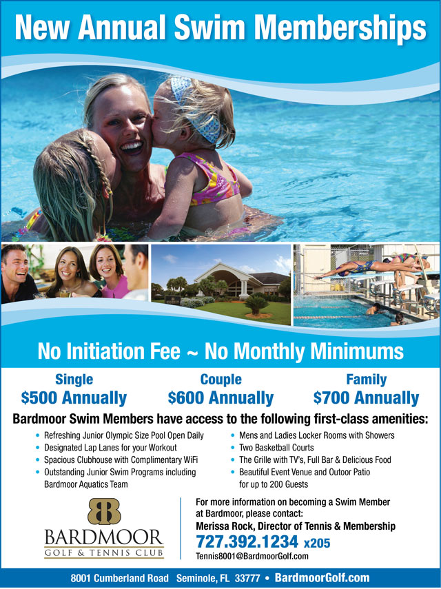 Image Annual Swim Memberships Flyer - To view text version go to http://www.bardmoorgolf.com/-swim-membership-text-only