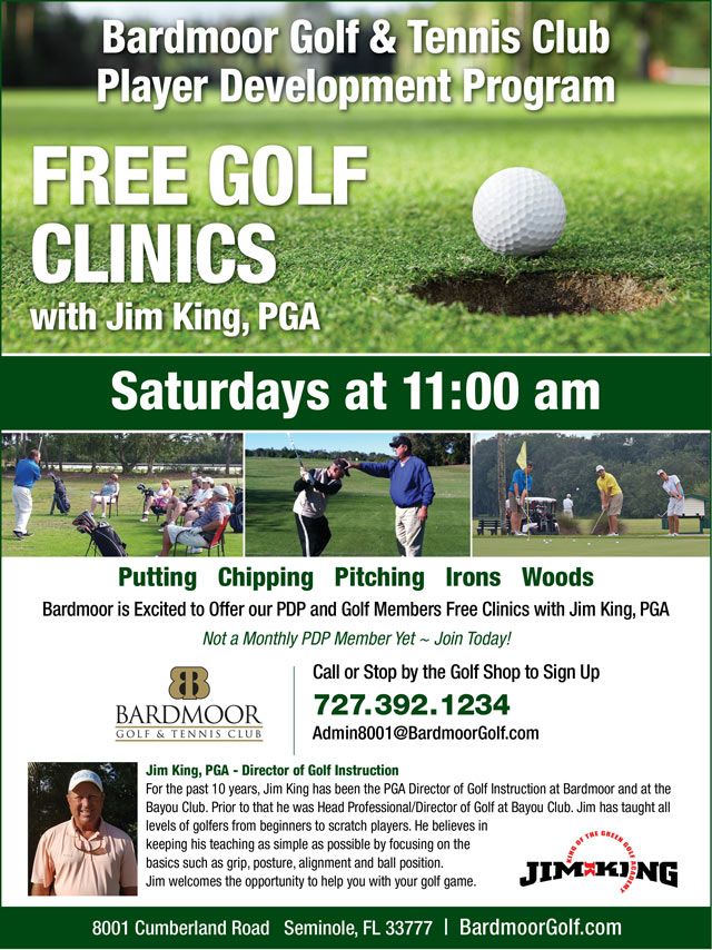 Image Player Development Free Clinics Promotional Flyer - To view text version go to http://www.bardmoorgolf.com/-player-development-program-text-only