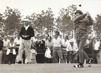 Photo of Ben Hogan and Tommy Bolt playing exhibition match at Bardmoor