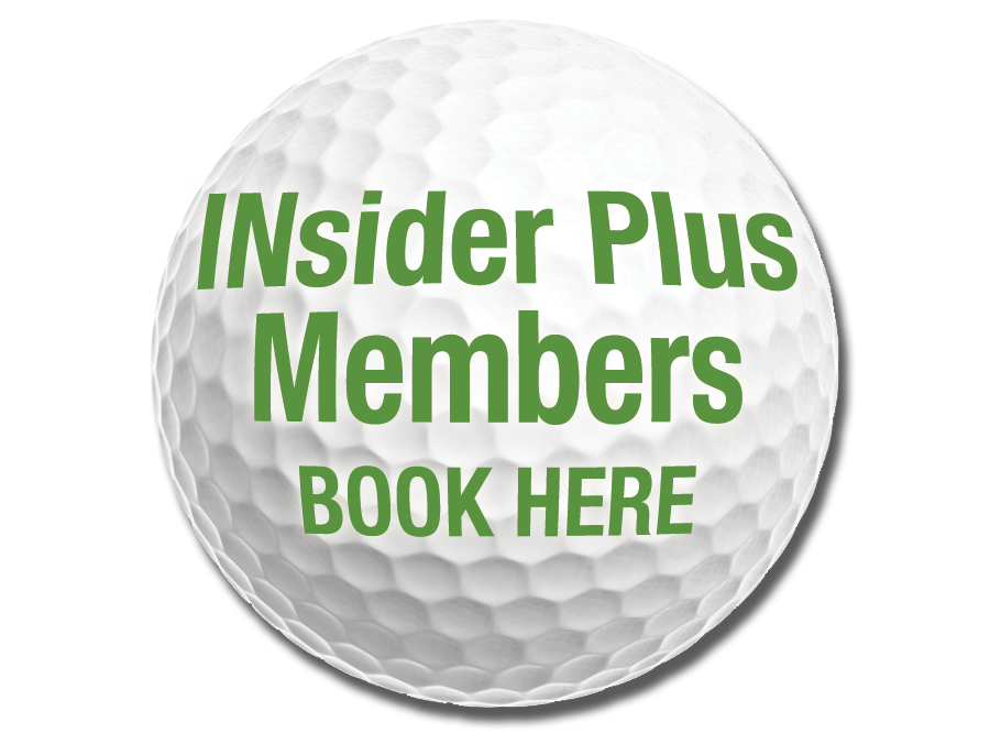 Photo of INsider Plus Members Golf Ball with link to INsider Plus Member Tee Times https://thepreservepc.ezlinksgolf.com/index.html#/search