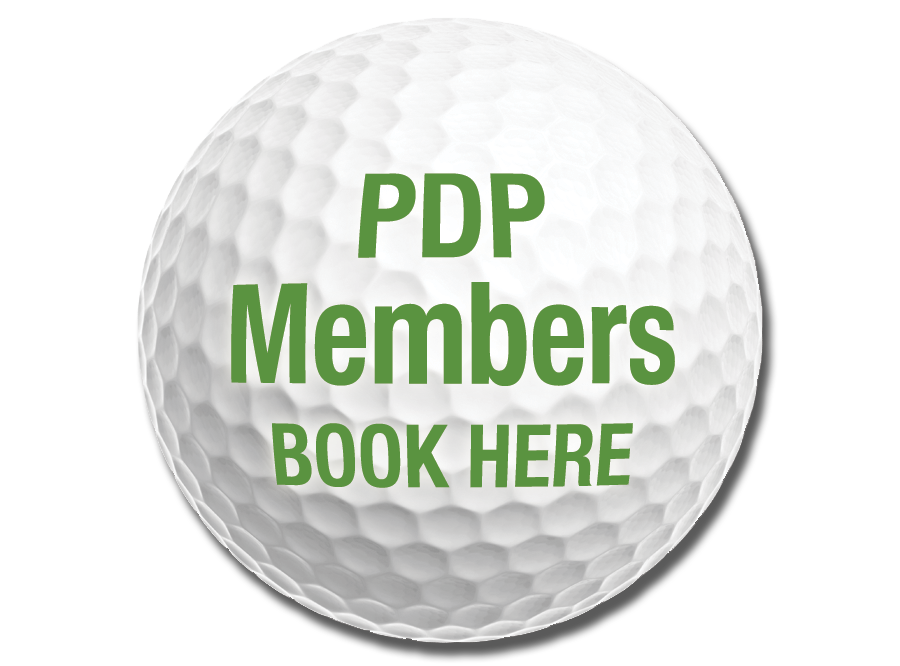 Photo of PDP Members Golf Ball with link to PDP Member Tee Times https://thepreservepdp.ezlinksgolf.com/index.html#/search