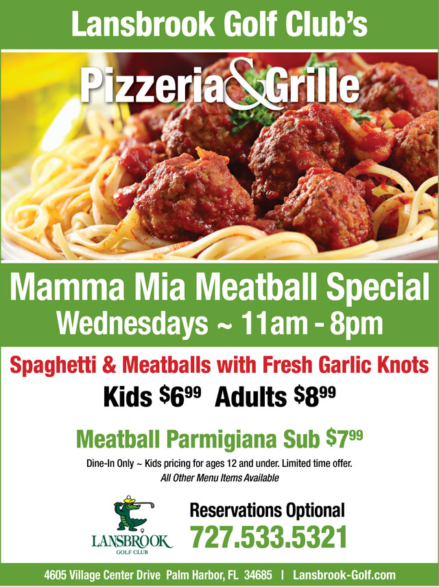 Flyer promoting specials Meatball Wednesdays limited time offer
