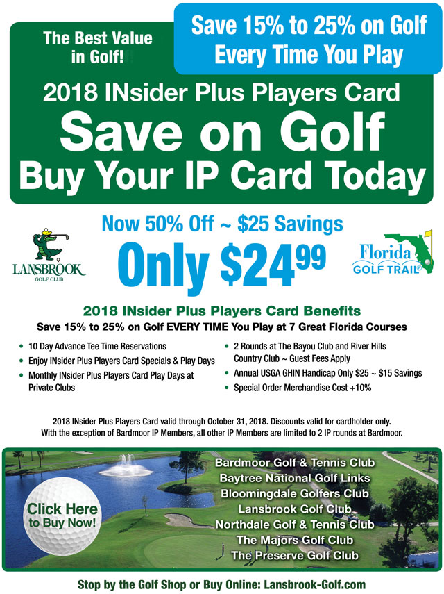 Image INsider Plus Players Card Promotional Flyer - To view text version go to http://www.lansbrook-golf.com/-insider-plus-text-only