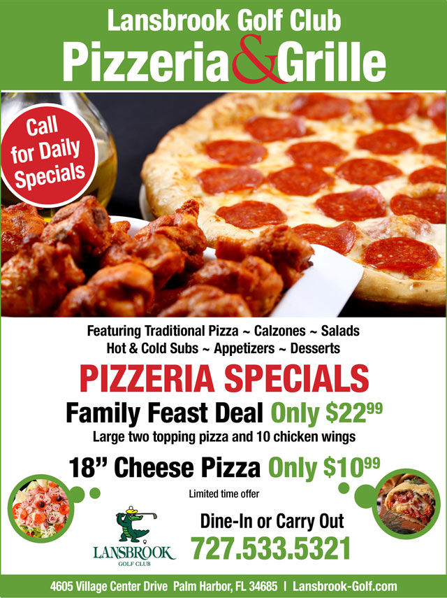 Flyer promoting specials Large 2 topping pizza and 10 wings 22.99 or 18' Cheese pizza 10.99