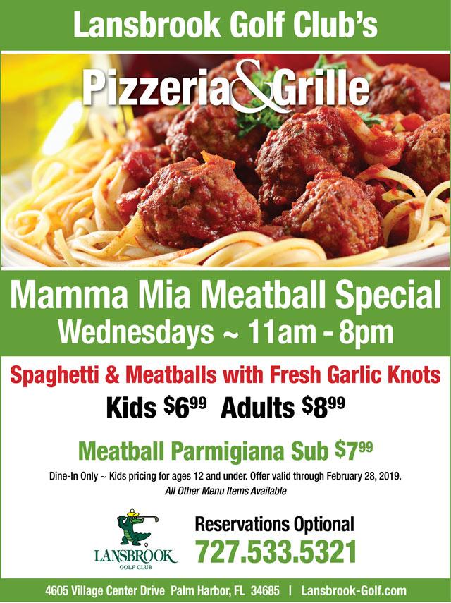 Flyer promoting specials Meatball Wednesdays valid thru 2/28/19