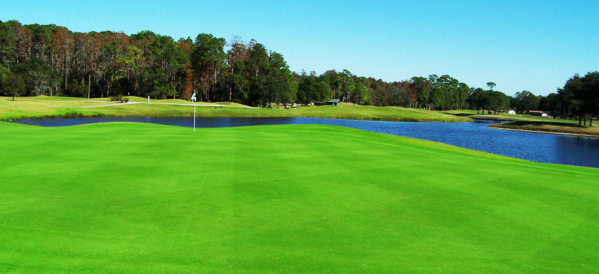 Photo Header Lansbrook Hole 7 Green with lake in backround