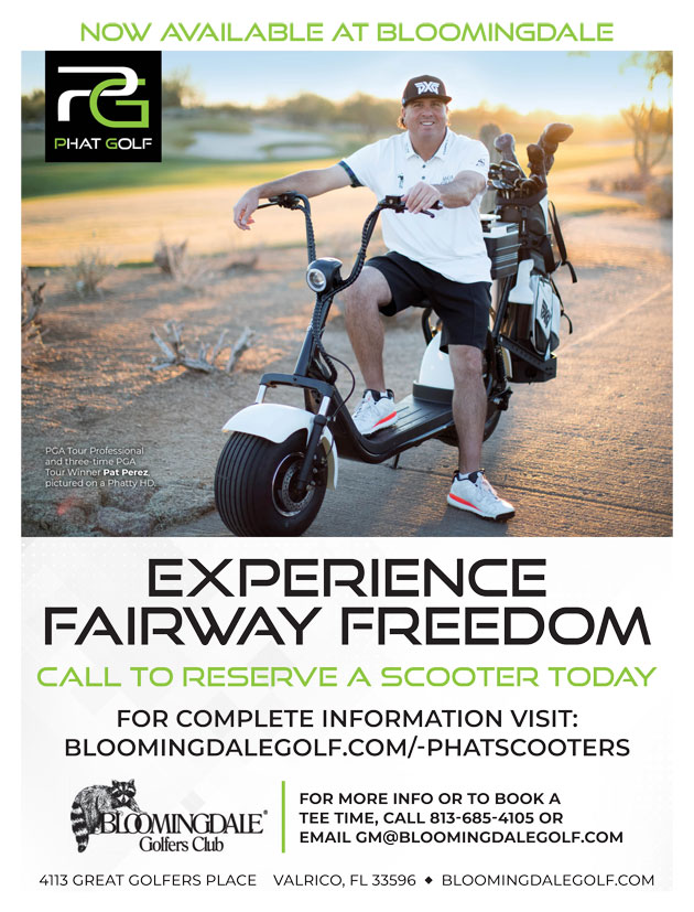 Graphic promoting Phat Scooter at Bloomingdale for more information call  The Golf Shop at 813.685.4105