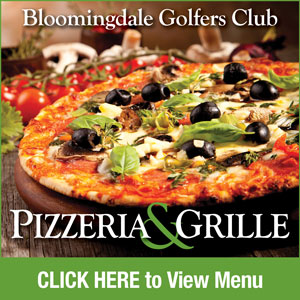 Graphic for Bloomingdale Golfers Club Pizzeria with link to PDF of menu. Go to http://www.bloomingdalegolf.com/-bloomingdale-pizzeria-menu-text-version