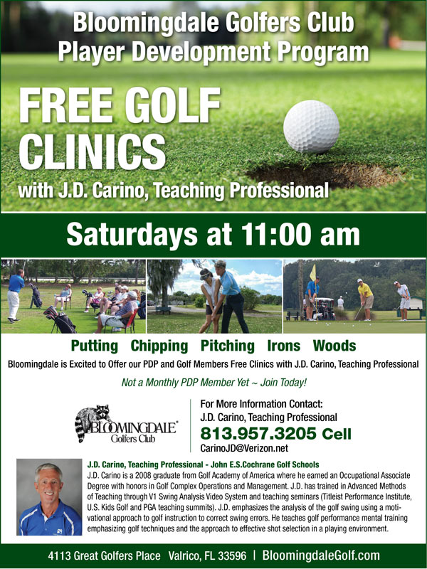 Image Player Development Free Clinics Promotional Flyer - To view text version go to http://www.bloomingdalegolf.com/-player-development-program-text-only