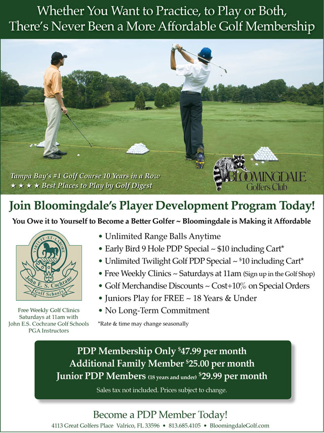 Image Player Development Program Promotional Flyer - To view text version go to http://www.bloomingdalegolf.com/-player-development-program-text-only