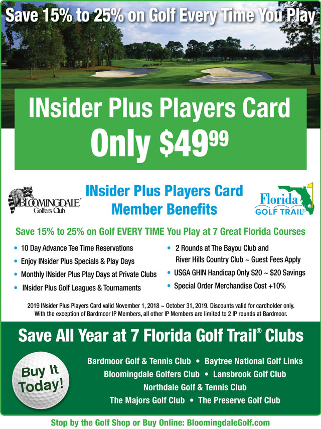 Image INsider Plus Players Card Promotional Flyer - To view text version go to http://www.bloomingdalegolf.com/-insider-plus-text-only