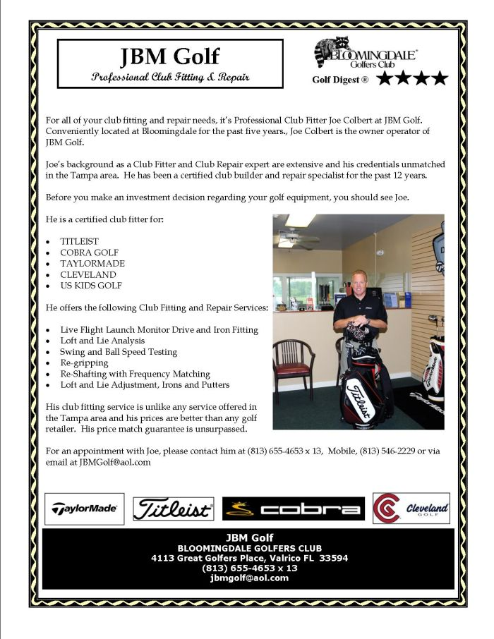 Flyer promoting JBM Golf Club Fitting and Repair for more information please call 813-645-4653 x13