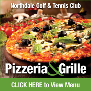Graphic for Northdale Golf & Tennis Club Pizzeria with link to PDF of menu. Go to http://www.northdalegolf.com/-northdale-pizzeria-menu-text-version