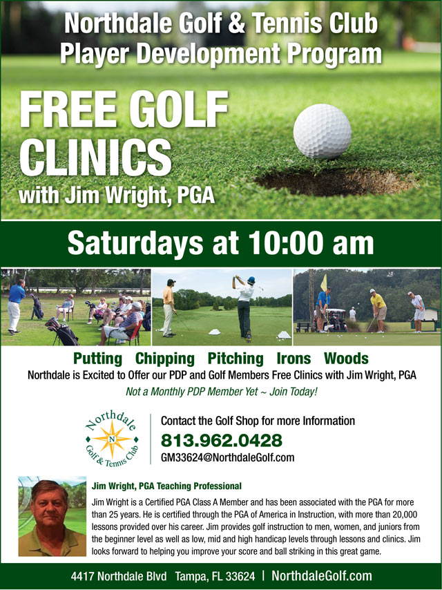 Image Player Development Free Clinics Promotional Flyer - To view text version go to http://www.northdalegolf.com/-player-development-program-text-only