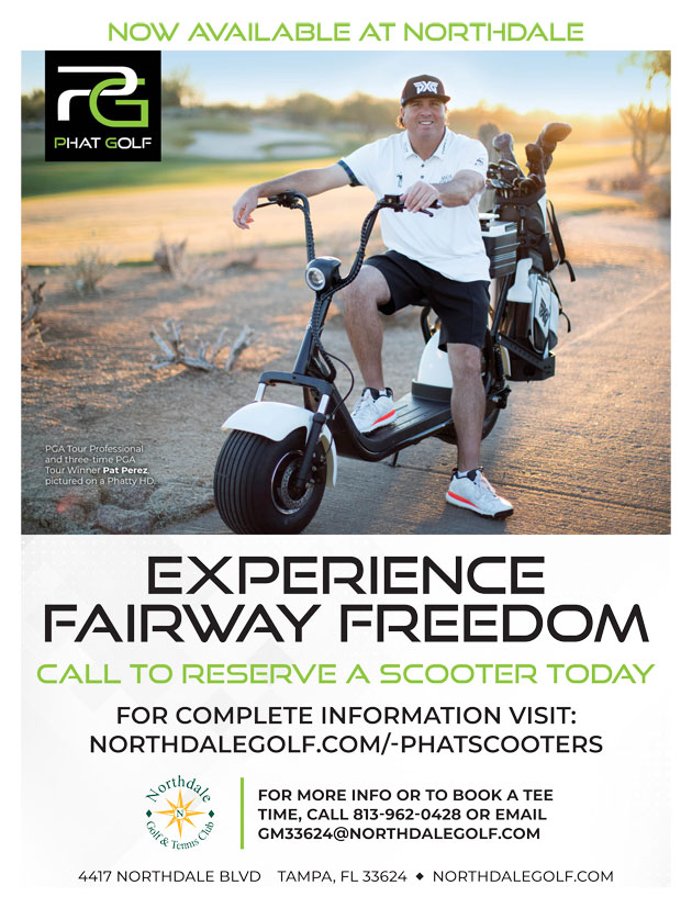 Graphic promoting Phat Scooter at Northdale for more information call The Golf Shop at 813.962.0428