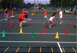 Photo children playing in a Tennis Clinic