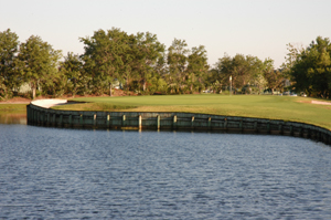 Baytree National Golf Hole 18 Peninsula Green over Lake Photo
