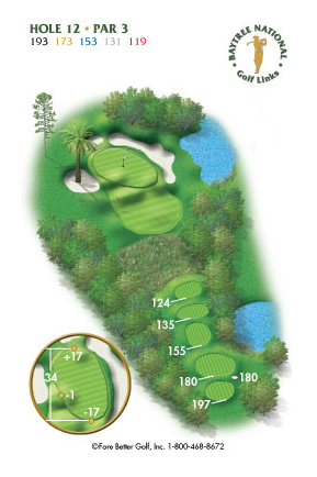 Hole 12 yardage and layout diagram Par 3 playing 193 yards from back tees and 119 yards from front tee please call the Baytree National Golf Shop for additional information about this hole at 321-259-9060