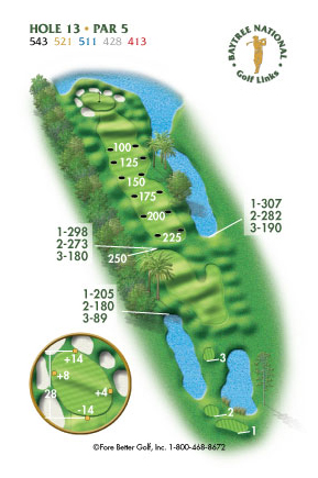 Hole 13 yardage and layout diagram Par 5 playing 543 yards from back tees and 413 yards from front tee please call the Baytree National Golf Shop for additional information about this hole at 321-259-9060