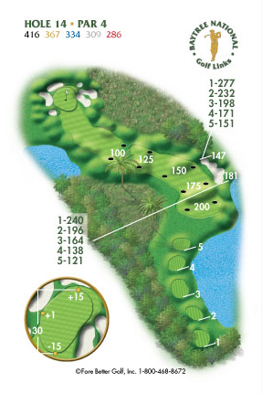 Hole 14 yardage and layout diagram Par 4 playing 416 yards from back tees and 286 yards from front tee please call the Baytree National Golf Shop for additional information about this hole at 321-259-9060