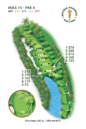Hole 15 yardage and layout diagram Par 4 playing 447 yards from back tees and 297 yards from front tee please call the Baytree National Golf Shop for additional information about this hole at 321-259-9060