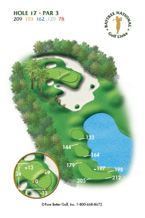 Hole 17 yardage and layout diagram Par 3 playing 209 yards from back tees and 78 yards from front tee please call the Baytree National Golf Shop for additional information about this hole at 321-259-9060