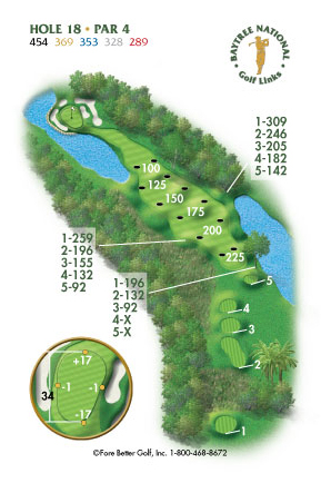 Hole 18 yardage and layout diagram Par 4 playing 454 yards from back tees and 289 yards from front tee please call the Baytree National Golf Shop for additional information about this hole at 321-259-9060