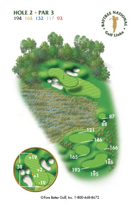 Hole 2 yardage and layout diagram Par 3 playing 194 yards from back tees and 93 yards from front tee please call the Baytree National Golf Shop for additional information about this hole at 321-259-9060