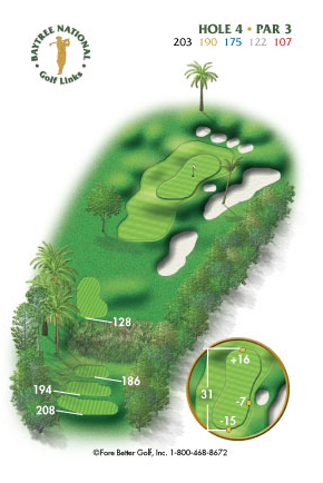 Hole 4 yardage and layout diagram Par 3 playing 203 yards from back tees and 107 yards from front tee please call the Baytree National Golf Shop for additional information about this hole at 321-259-9060