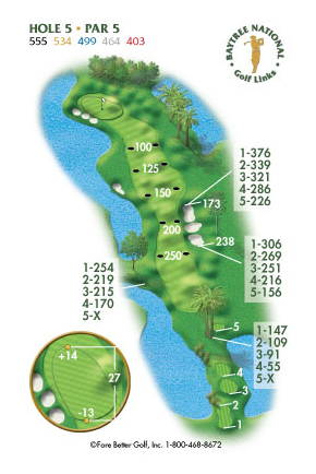 Hole 5 yardage and layout diagram Par 5 playing 555 yards from back tees and 403 yards from front tee please call the Baytree National Golf Shop for additional information about this hole at 321-259-9060