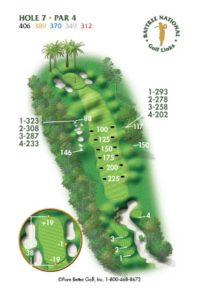 Hole 7 yardage and layout diagram Par 4 playing 406 yards from back tees and 312 yards from front tee please call the Baytree National Golf Shop for additional information about this hole at 321-259-9060