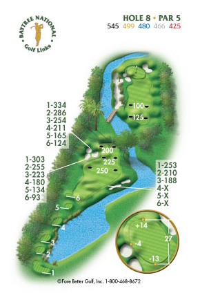 Hole 8 yardage and layout diagram Par 5 playing 545 yards from back tees and 425 yards from front tee please call the Baytree National Golf Shop for additional information about this hole at 321-259-9060