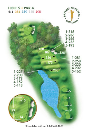Hole 9 yardage and layout diagram Par 4 playing 411 yards from back tees and 295 yards from front tee please call the Baytree National Golf Shop for additional information about this hole at 321-259-9060