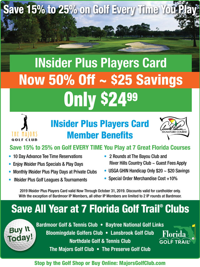 Image INsider Plus Players Card Promotional Flyer - To view text version go to http://www.majorsgolfclub.com/-insider-plus-text-only