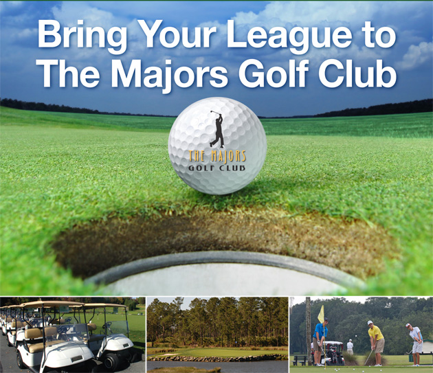 Photo collage with text that reads Bring Your League to The Majors and features close up of Majors Logo golf ball, a line of golf carts, a golf course shot and three golfers putting on the green