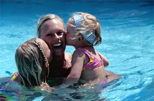 Photo - Woman and 2 girls in swimming pool