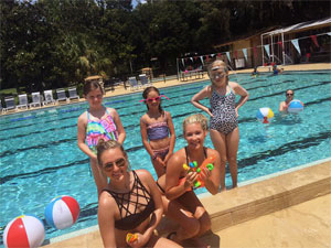 Photo - 2 ladies and 3 children at swimming pool
