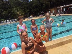 Photo - 2 ladies and 3 children at swimming pool