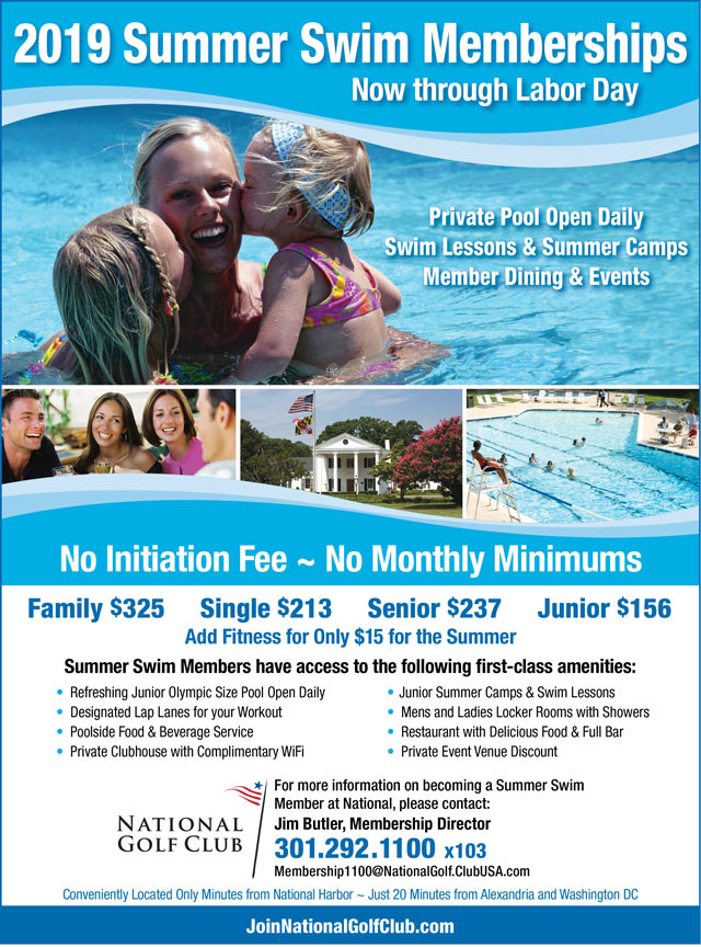 Flyer for NGC 2019 Swim Membership Memorial Day through Labor Day. Call 301-292-1100 for full details